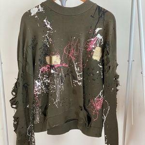 openwork painted sweatshirt